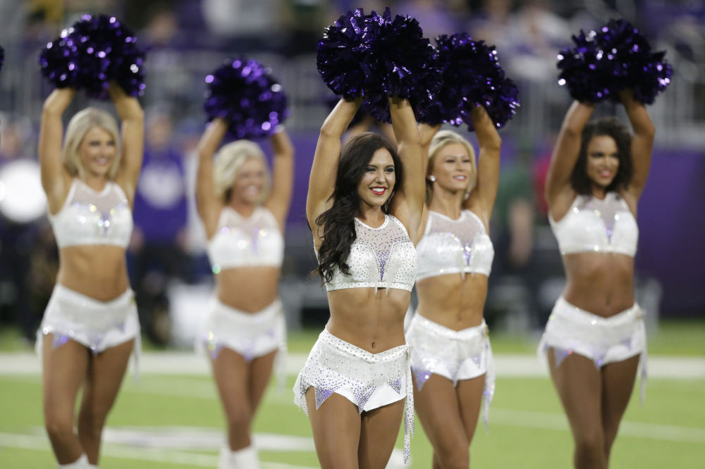 Minnesota Vikings cheerleaders perform before an NFL football game between the Vikings and the Green Bay Packers, Monday, 23 December 2019, in Minneapolis.