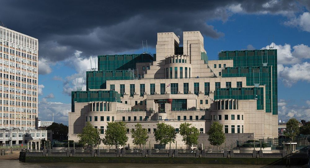 The SIS Building (or MI6 Building) at Vauxhall Cross, London, houses the headquarters of the British Secret Intelligence Service (SIS, MI6)