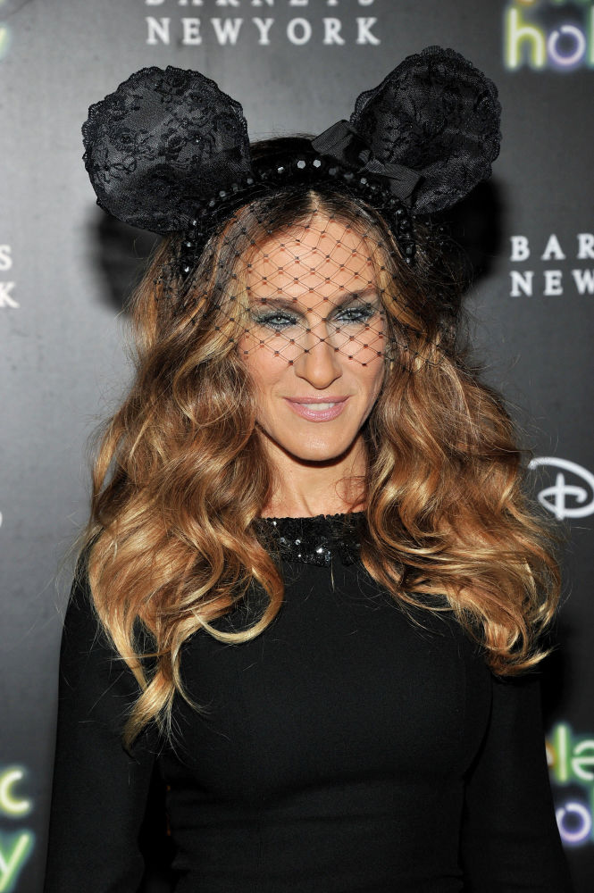US actress Sarah Jessica Parker donning Minnie Mouse ears at Barneys New York and Disney Electric Holiday Window in New York city.
