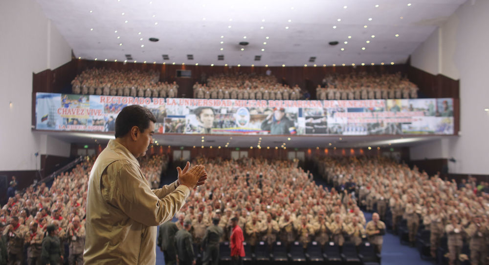 Venezuela's President Nicolas Maduro during a meeting with members of the Popular Units of Integral Defense, in Caracas