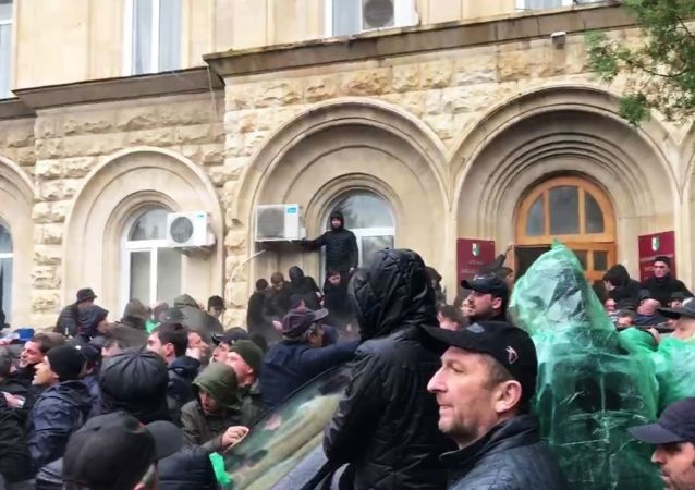 Protesters assault presidential administration building in Sukhumi, Abkhazia