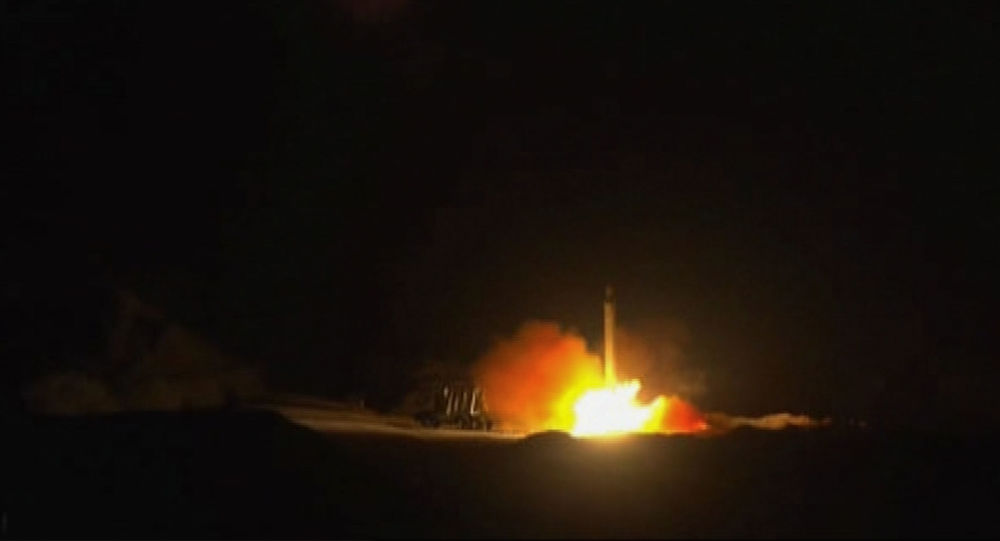 An image grab from footage obtained from the state-run Iran Press news agency on January 8, 2020 allegedly shows rockets launched from the Islamic republic against the US military base in Ein-al Asad in Iraq the prevous night