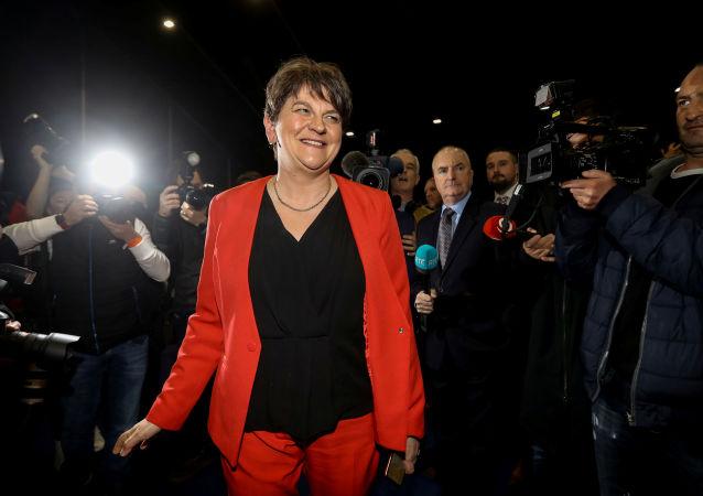 Arlene Foster, Leader of the DUP, arrives at the count centre, Titanic Quarter, Belfast, Northern Ireland December 13, 2019.