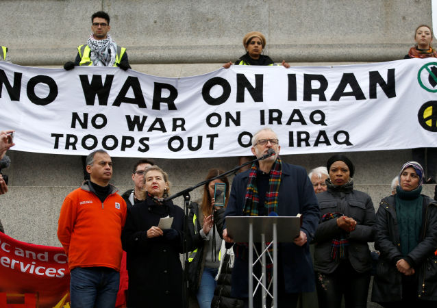 Britain's Labour Party leader Jeremy Corbyn speaks during a protest to oppose the threat of war with Iran, in London, Britain January 11, 2020.