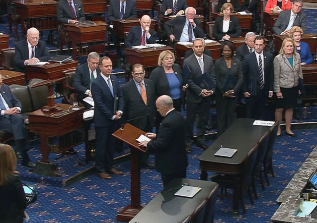 The U.S. Senate Sergeant at Arms Michael Stenger introduces the U.S. House impeachment managers,