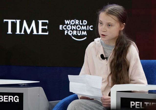 Swedish climate change activist Greta Thunberg attends a session at the 50th World Economic Forum (WEF) annual meeting in Davos, Switzerland, January 21, 2020