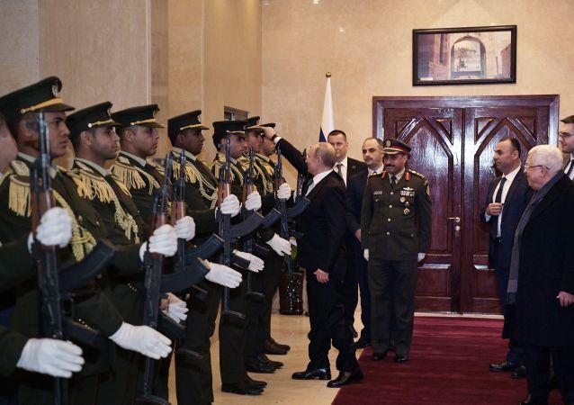 Vladimir Putin during his visit to the West Bank