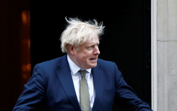 Britain's Prime Minister Boris Johnson arrives to welcome Egyptian President Abdel Fattah el-Sisi