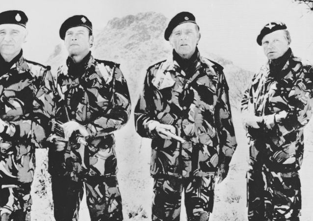 Actors Richard Harris, Roger Moore, Richard Burton and Hardy Kruger in The Wild Geese, which was based on Mad Mike Hoare's escapades