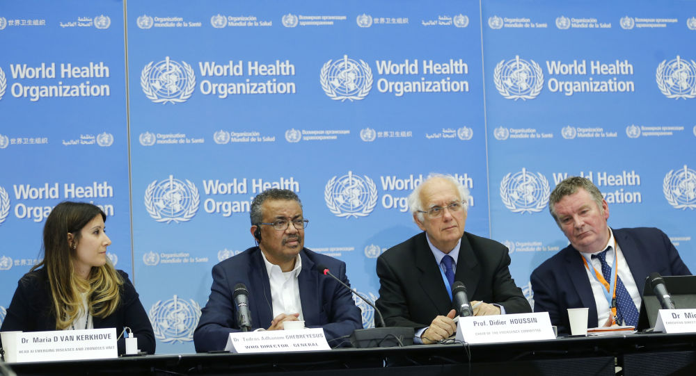 Dr. Maria D Van Kerkhove, Head AI Emerging Diseases and Zoonoses Unit, World Health Organization (WHO) Director-General Tedros Adhanom Ghebreyesus, Professor Didier Houssin, Chair of the Emergency Committee, and WHO health emergencies programme Michael Ryan sit together for a  press conference following an emergency committee meeting over new SARS-like virus spreading in China and other nations, in Geneva on January 22, 2020.