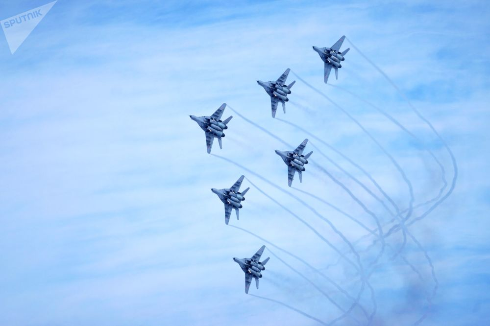 The Swifts aerobatic team performs in Krasnodar