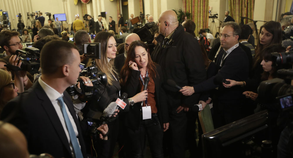M5S Paola Taverna speaks after polling stations closure at the electoral headquarters of Five-Star Movement (M5S) in Rome, in the early hours of Monday, March 5, 2018