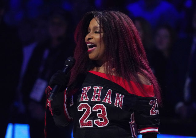 Chaka Khan performs the American national anthem before the 2020 NBA All Star Game at United Center