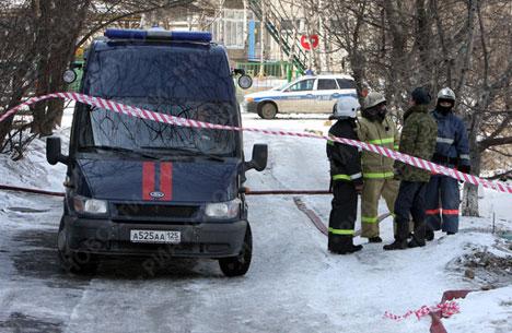 Russian special armed police in Vladivostok raid
