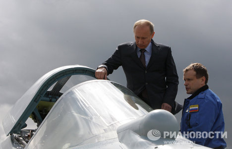 Vladimir Putin in Russia's fifth-generation fighter jet
