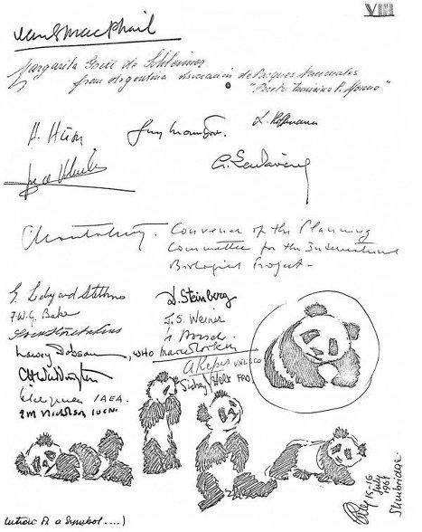 Эскизы логотипа, сделанные сэром Питером Скоттом, и подписи членов Попечительского совета WWF