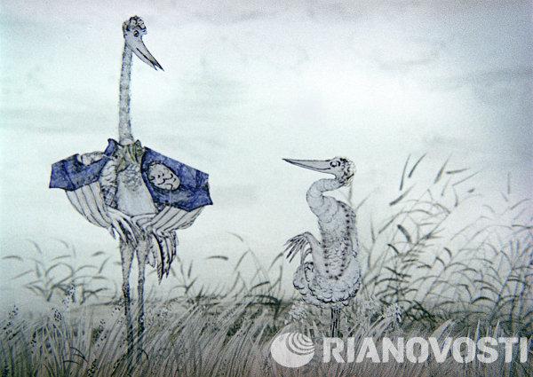 Кадр из мультфильма Цапля и журавль