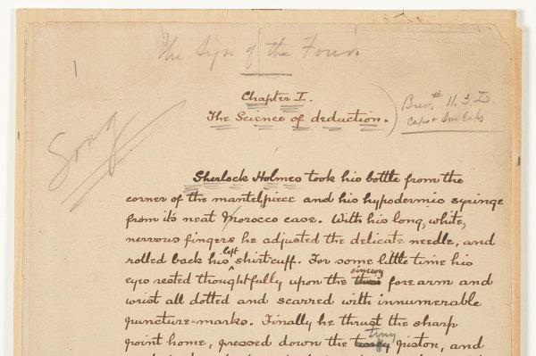 Страница рукописи Конана Дойля представленная на выставке о Шерлоке Холмсе в Музее Лондона