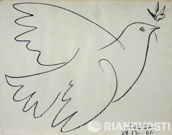 Рисунок Голубь мира с оливковой ветвью работы художника Пабло Пикассо
